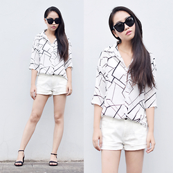 Meijia S - Vintage Chiffon Shirt, H&M White Shorts, Celine Sunnies - Summe fresh