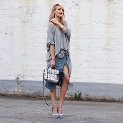 Leonie Hanne - Asos Skirt, Bag, Sweater, Heels, Watch, Belt, Ankle Chain - Grey, silver & blue shades | ohhcouture.com