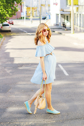 Lusia Nazarenko - Sheinside Dress, Soludos Shoes, Rebecca Minkoff Bag - Light blue