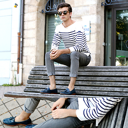 "Matthias C. - Saint James Striped Top, Cheap Monday Grey Skinny Jeans, Komono Sunglasses, Armando Cabral Loafers - ""Smoked Amber"""