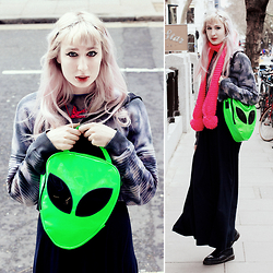 Isabella Barter - Bay Necklace, Ragged Priest Jumper, Killstar Bag, Lazy Oaf Dress, Vintage Dr Martens - CYBER ALIEN