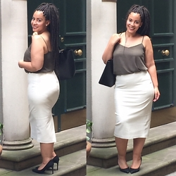 Andrea Da Silva - Zara Faux Leather Skirt, New Look Cami Top, Ted Baker Leather Bag, Dune London Suede Heeld - Off-white faux leather skirt!