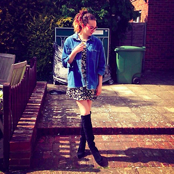 Albertine Brandon - Thrifted Denim Shirt, Primark Dress, Duo Boots - Florals, Denim and Suede