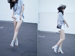 Kay Lai - Alexander Wang Tee, A&F Denim Shorts, Miista Sandals, &Other Stories Mini Bag, Artist And Flea Hat - Lightest Grey