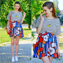 Malinina-ek - - Sheinside Top, Romwe Skirt, Converse Shoes - Stripes and flowers)
