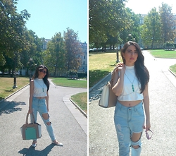 Jelena Dimić - Lavish Alice White Split Back Crop Top, Born Pretty Turquoise Stones Body Chain, Shein Boyfriend Ripped Jeans, Accessorize Beige/White/Mint Green Bag, Sun&Sun Purple Round Sunglasses, Graceland White Studded Flats - Kissed by fire