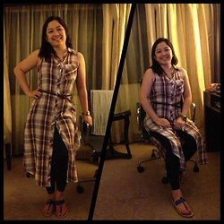 Leign Gamit - Forever 21 High Slit Dress, Charles & Keith Color Block Flat Sandals - Something plaid