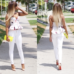 Storm D - If Chic Keepsake Divide Bodice, 7 For All Mankind Jeans, Christian Louboutin Shoes - Cheerleader Chic