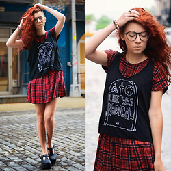 Ashley Laderer - Jawbreaking Life Was Radical Tank Top, Zara Tartan Dress - LIFE WAS RADICAL