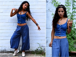 Lilia U.M - Claire's Floral Crown, Sterling Pharaoh Pendant, Bodycentral Denim Crop Top, Nu Silk Harem Capris, Forever 21 Pointed White Hurricanes - Revived Look
