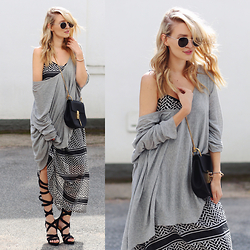 Leonie Hanne - Maxi Dress, High Heel Gladiator Sandals, Sunnies, Sweater, Drew Bag - Layers & High gladiator sandals | ohhcouture.com