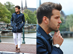 Marc Galobardes - Zara Trench, Zara Trousers, H&M Shoes - BLUE TRENCH #AMSTERDAM