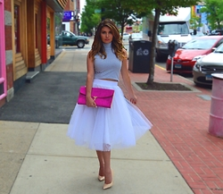 Jenna Poitras - Windsor Tulle Skirt, Ted Baker Clutch, Express Striped Croptop - Tulle Skirts and Sweet Treats