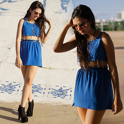 Jade Oliveira - Diy Chained Blue Dress, Jeffrey Campbell Boots - CHAINED BLUE DRESS
