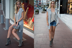 Lily Levy - Bottega Veneta Peep Toe Booties, 7 For All Mankind Jeans Shorts, Lala Berlin Top - It's a Friday Night Out
