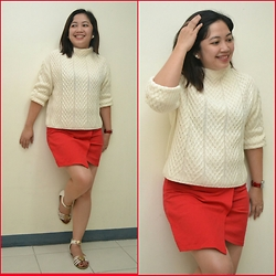 Leign Gamit - Zara Knitted Pullover, Forever 21 Overlap Skirt, So Fab Flat Sandals - Red makes the difference