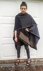 Joey Drozario - Zara Poncho Cape, H&M Ripped Jeans, American Apparel Black T Shirt, Dr. Martens Sandals - Suave Summer