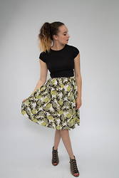 Albertine Brandon - Primark Top, Primark Skirt, River Island Heels - Pineapple Print