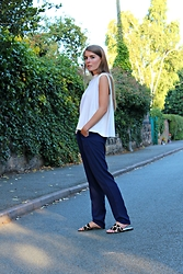 Angharad Jones - Cos Top, Little Mistress Trousers, Atterley Flats - Loose Blue Trousers
