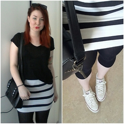 Tine Respirencore - H&M Bodycon Skirt, Picard Studded Bag, Primark All Black Sunnies - Pop of color