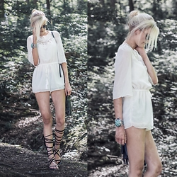 Faye S. - Style Moi Playsuit, Style Moi Bracelet, Ray Ban Glasses, Public Desire Shoes - You better give up cause I never will