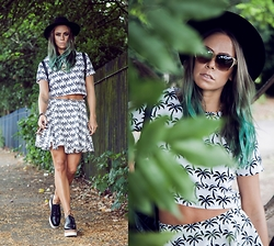 Natalia Homolova - Asos Hat, Blue Vanilla Co Ords, H&M Shoes, Salvatore Ferragamo Sunglasses - PALM trees