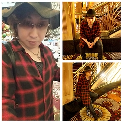 Akira Jo -  - Tartan red long shirt
