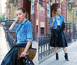Iren P. - Choies Pu Leather Midi Skirt, Denim Crop Jacket, Leopard Clutch, Peep Toe Booties - MIDI SKIRT