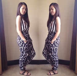 Faye Ramos - Cotton On Printed Jogger Pants, Wagw Stripes Cropped Top - Print on Print