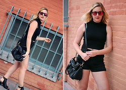 Elyse Cornett - Urban Outfitters Crop Top, Madewell Shorts, Brandy Melville Usa Bag, Arnette Sunglasses, Zara Boots - Black Out