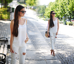 Magdalena S - Shein Top, Mohito Bag - Total white look