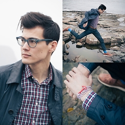 Chris Nicholas - Enzo Kay Bracelet, Indochino Shirt, Grayers Trench, Hitsu Socks, Cole Haan Lunar Grands, Levi's® 511, Warby Parker Duckworth - Life on an Island