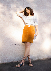Emily Lane - Ecote White Peasant Top, Vintage Tan Suede Skirt, Forever 21 Black Lace Up Gladiator Sandals - Sonny