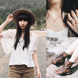 Camila C - Forever 21 Hat, Free People Lace Top, Free People Shorts, Urban Outfitters Necklace And Rings, Steve Madden Leather Boots - Mountain At My Gates