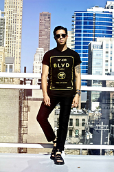 Matthew Woppel - Christian Dior Sunglasses, Blvd Supply T Shirt, Boga Denim, Dr. Martens Sandals, Burberry Watch - BLVD Supply - Tree Gang