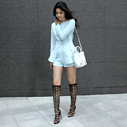 Florencia R - Missguided Blue Romper, Linea Pelle White Mini Bag, Amazon Gladiator Boots - Gladiator boots