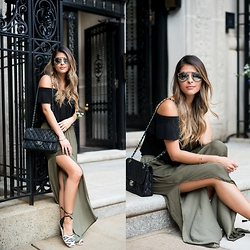 Pam Hetlinger - Asos Off The Shoulder Top, Cynthia Vincent Espadrilles - Double Slit-Skirt
