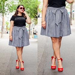 Alice Hernandez - Amh Designs Gingham Skirt, Old Navy Graphic Ter, Payless Red Sunglasses, Charming Charlie Red Bow Heels - Girly Gingham