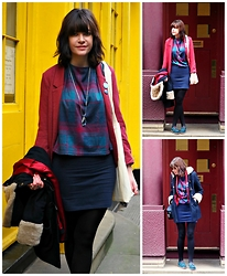 Charley Ellis - H&M Burgundy Blazer, New Look Checked Top, Matthew Williamson Blue Gem Necklace, Forever 21 Navy Bodycon Skirt, Joy Navy Duffle Coat, Clarks Blue Suede Shoes, New Look Stripey Camera Bag - Vintage Vinyl Vouchers