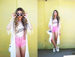 ♡Anita Kurkach♡ - Style Moi Sweamwear, Asos Shorts, Romwe Kimono, Wholesalebyuing Shoes, Sheinside Bag - BARBIE style.