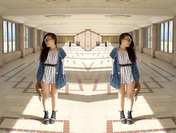Michelle Erica M. - Urban Outfit Vintage Denim Waistcoat, House Of Holland Sunglasses, Missguided Playsuit, Missguided Cut Out Boots, Primark Belt - Head to the ground
