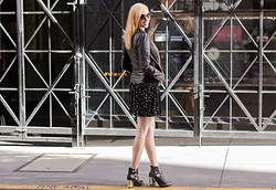 Caity Shreve - Express Faux Leather Jacket, Asos Hummingbird Print Skater Dress, Kurt Geiger Gold Heeled Booties - Hummingbird