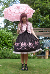 Salome Buschbacher - Metamorphose Ribbon Chandelier Jsk, Angelic Pretty Pink Cardigan, Angelic Pretty Pink Headbow, Baby The Stars Shine Bright Pink Parasol, Mojo Moxy Dolce Boots - Last few days in England