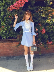 Kary Lo - Furla Jellybag, Dolls Kill Blue Dress, Steve Madden White Boots - Creamy Blue with Flowers