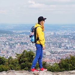 Yix.stagram - Adidas Sneaker Freaker, Adidas Backed By Mountains, H&M Grrl, Yellow Duckie - Top of Zurich