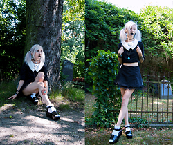 "Kimi Peri - Morph8ne Ann Twin Set, Jeffrey Campbell Lovell Platform Sandals, Kids Store Snow White Frilly Socks, Thrifted Turquoise Stone Pendant, Choker - The ""Life"" of Ann"
