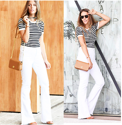 Zaichkina Lusia - Dkny Top, Citizens Of Humanity Jeans, Tory Burch Bag - Black and white - classic 70s!