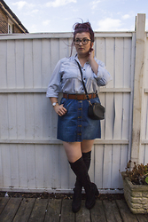 Olivia Lynn - Primark Light Denim Shirt, H&M Tan Belt, Charity Shop Denim Button Down Skirt, Ebay Over The Knee Boots, Primark Cross Body Zip Around, Skagen Bracelet Watch - Double Bubble
