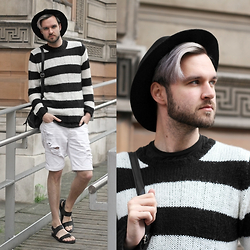 Geraint Donovan-Bowen - Topman Fedora, Zara Jumper, Rokit Vintage Backpack, Illustrated People Tee, H&M Shorts, Zara Sandals - His Name Is Striped