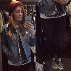 BeingSamNeill - Sportsgirl Maroon Headband, Ghanda Wool Denim Jacket, Ebay Green Crystal Pendant, Fueled By Ramen Paramore Tee, Factorie Cassie Highwaisted Jeans, Missguided Slip On Sneakers - -